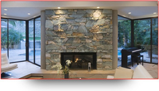 Photo of beautiful modern fireplace lighting